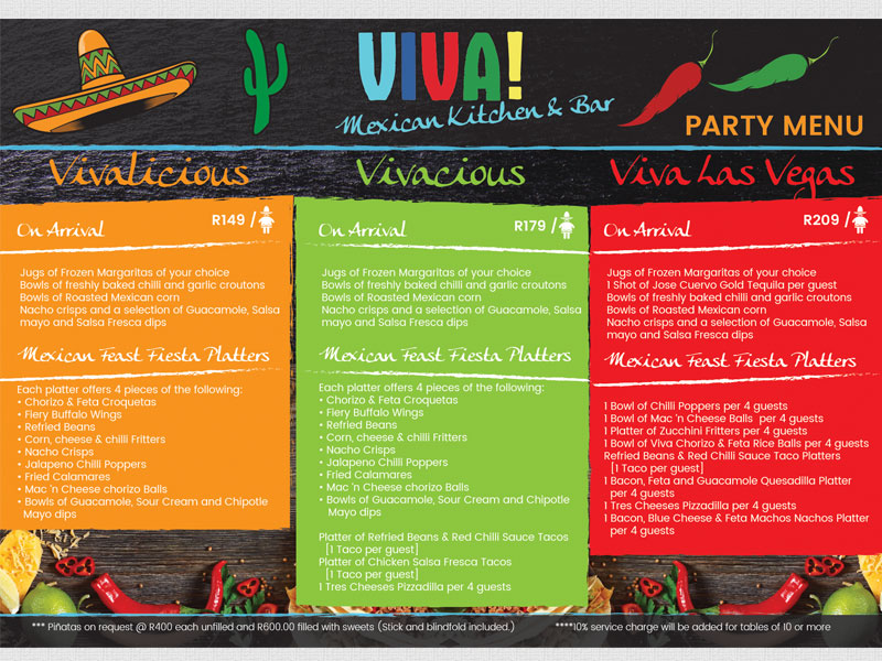 Viva Mexican Party Menu
